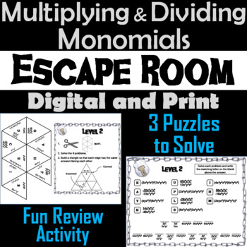 Multiplying and Dividing Monomials Activity: Algebra Escape Room Math
