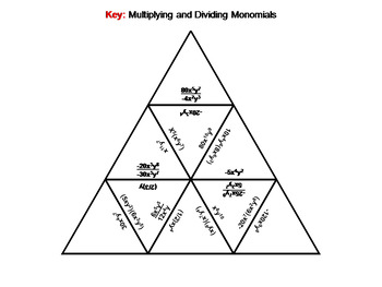Multiplying and Dividing Monomials Game: Math Tarsia Puzzle