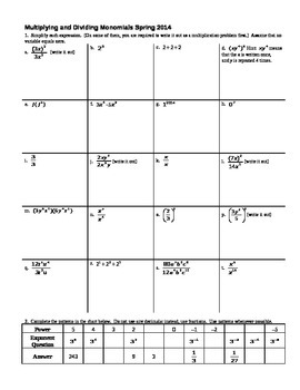 Multiplying and Dividing Monomials Spring 2014 (Editable)