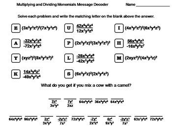 Multiplying and Dividing Monomials Worksheet: Math Message Decoder