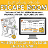 Multiplying and Dividing Multi-Digit Whole Numbers FALL PUMPKIN ESCAPE ROOM