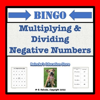 Multiplying and Dividing Negative Numbers Bingo (30 pre-made cards!)