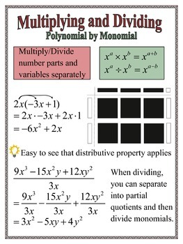 Multiplying and Dividing Polynomial by Monomial