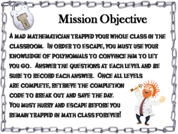 Multiplying and Dividing Polynomials Activity: Escape Room Math