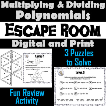 Multiplying and Dividing Polynomials Game: Algebra Escape Room Math Activity