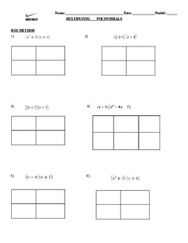 Multiplying and Dividing Polynomials Notes/Practice
