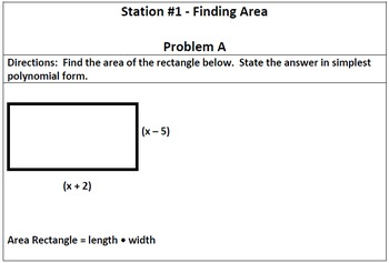 Multiplying and Dividing Polynomials - Stations Activity