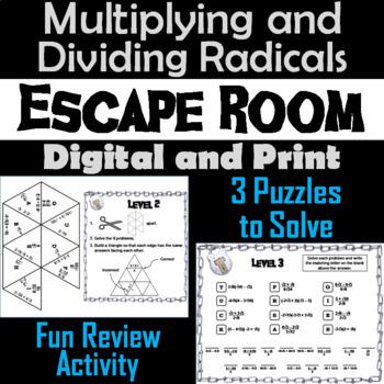 Multiplying and Dividing Radicals Game: Algebra Escape Room Math Activity