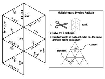 Multiplying and Dividing Radicals Game: Math Tarsia Puzzle