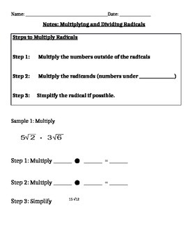 Multiplying and Dividing Radicals Notes and Assignments