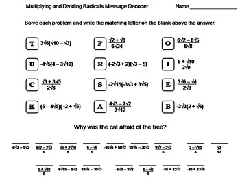 multiplying and dividing radicals only activity teaching resources   multiplying and dividing radicals worksheet math message decoder