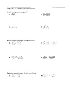 Multiplying and Dividing Rational Expressions - Assignment
