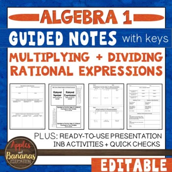 Multiplying and Dividing Rational Expressions - Interactive Notebook Activities