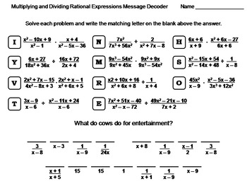 Multiplying and Dividing Rational Expressions Worksheet: Math ...