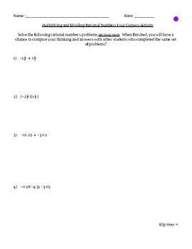 Multiplying and Dividing Rational Numbers Four Corners Activity