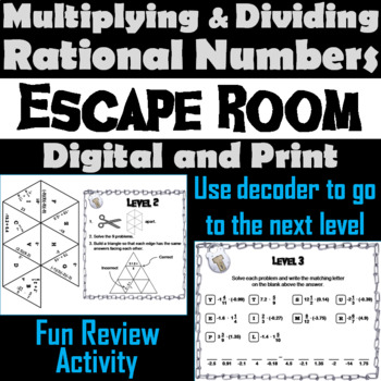Multiplying and Dividing Rational Numbers Game: Escape Room Math Activity