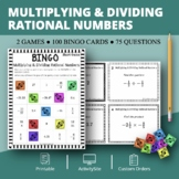 Multiplying and Dividing Rational Numbers Math Bingo