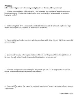 Multiplying And Dividing Rational Numbers Worksheet Tpt