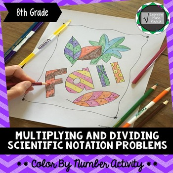 Multiplying and Dividing Scientific Notation Problem Color