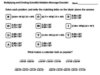 Multiplying and Dividing Scientific Notation Worksheet: Math Message Decoder