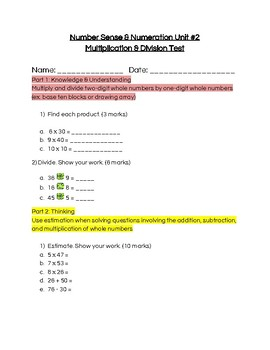 Multiplying and Dividing Whole Numbers Test Grade 4