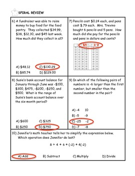 Multiplying and Dividing Integers Word Problem Practice PLUS Spiral Review