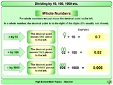 Multiplying and Dividing by 10, 100 1000 etc for High School Math