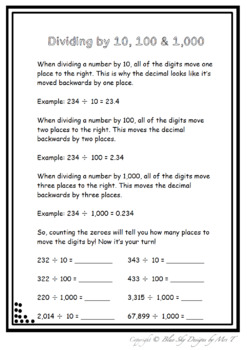Multiplying and Dividing by 10, 100 and 1,000 MINI BUNDLE!