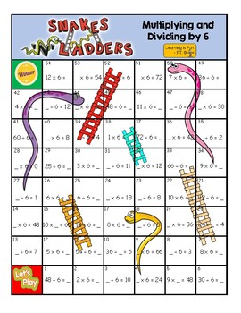 Multiplying and Dividing by 6 - Board Game - Snakes and Ladders