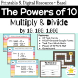Multiplying and Dividing by Powers of 10 (10, 100, 1,000): Math Task Cards