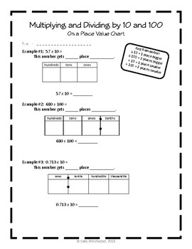 Multiplying and Dividing by Powers of 10: On a Place Value Chart, Lesson Packet