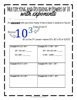 Multiplying and Dividing by Powers of 10 with Exponents, 5.NBT.2 (Lesson Packet)