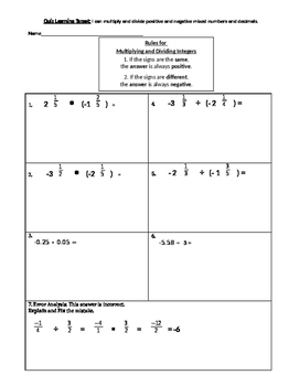 Multiplying and Dividing positive and negative fractions and mixed numbers quiz