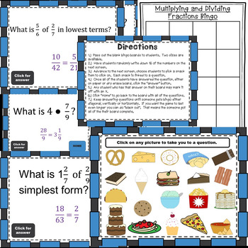 Multiplying and Dividing with Fractions Bingo