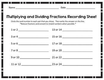 Multiplying and Dividing with Fractions Task Cards