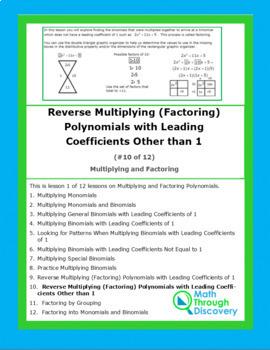 Algebra 1:Multiplying and Factoring -Lesson 10 - Reverse Multiplying (Factoring)