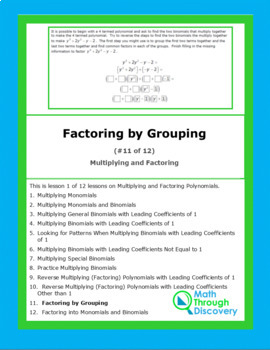 Multiplying and Factoring - Lesson 11 - Factoring by Grouping