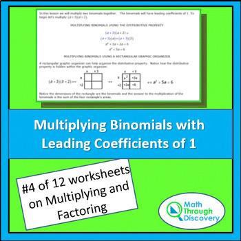 Algebra 1:  Multiplying and Factoring - Lesson 4 - Multiplying Binomials