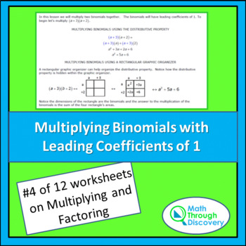 Multiplying and Factoring - Lesson 4 - Multiplying Binomials