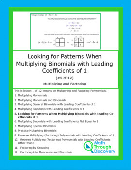 Algebra 1:  Multiplying and Factoring - Lesson 5 - Looking for Patterns
