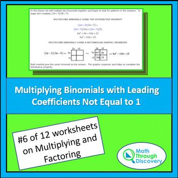 Algebra 1:  Multiplying and Factoring - Lesson 6 - Multipl