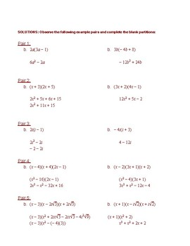 Multiplying and Factoring Polynomials Review: Example Problem Pairs