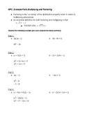 Multiplying and Factoring Polynomials Review: Example Prob