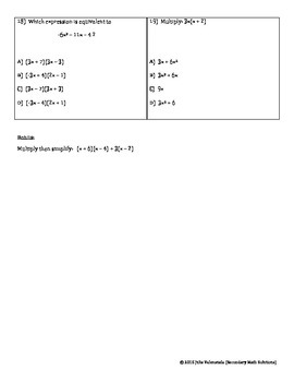 Multiplying and Factoring Polynomials Test