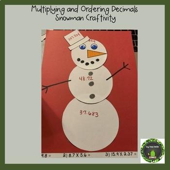 Multiplying and Ordering Decimals Snowman Craftivity (TEKS 5.3E & 5.2B)