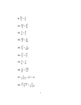 Multiplying and dividing algebraic fractions 2
