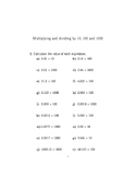 Multiplying and dividing by 10, 100 and 1000 worksheet (with solutions)