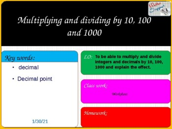 Multiplying and dividing by powers of 10