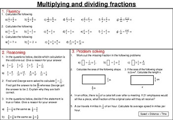 Multiplying and dividing fractions- mastery worksheet