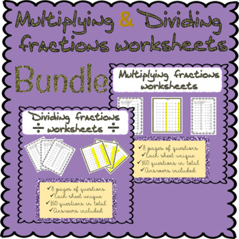 Multiplying and dividing fractions worksheets (over 300 questions)